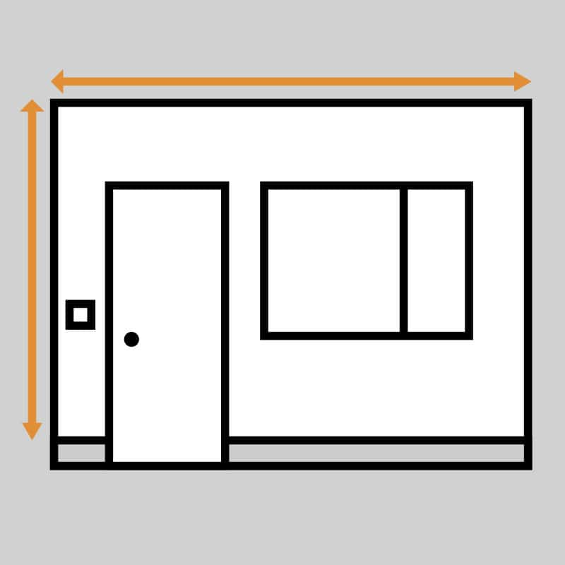 measuring walls with doors, windows and other obstacles to install wallpaper mural