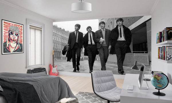 the beatles black and white wallpaper mural