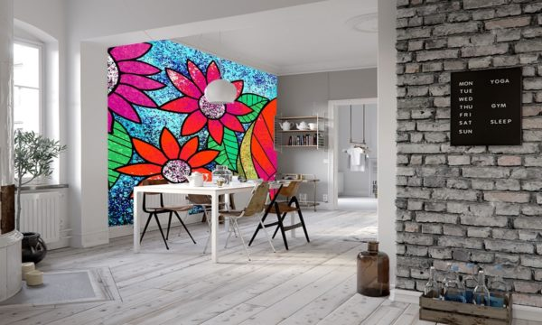 Shiny Red Illustrated Flowers Wallpaper Mural