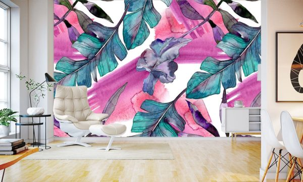 Teal-stained Flower Arrangment Wallpaper Mural