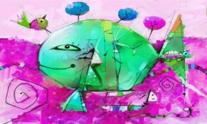 Abstract Green Fish made from Objects Wallpaper Mural