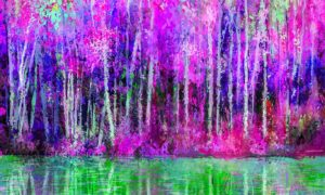 Asthetic Bamboo Forest River in Purple and Green Wallpaper Mural