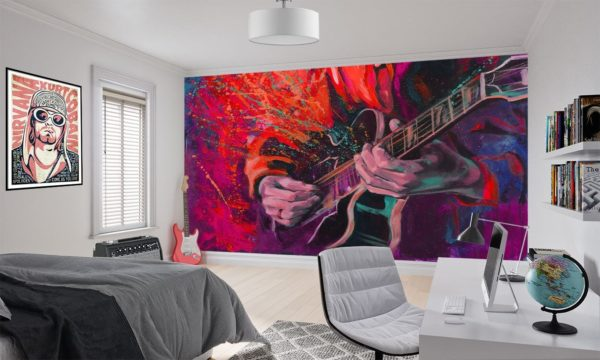 Red Acoustic Guitar Splash Wallpaper Mural