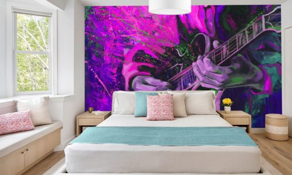 Purple Acoustic Guitar Splash Wallpaper Mural