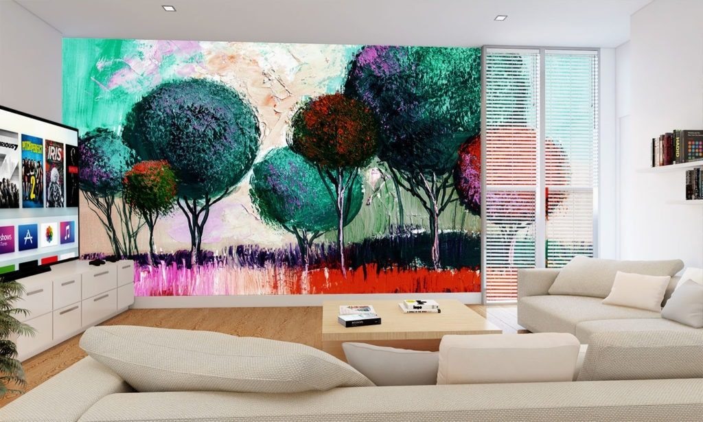 Red/Blue Traditional Spherical Trees Wallpaper Mural