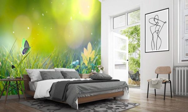 Magestic Butterfly in Yellow Wallpaper Mural