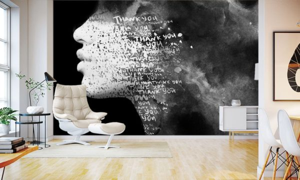 Thank You Face Portrait Wallpaper Mural