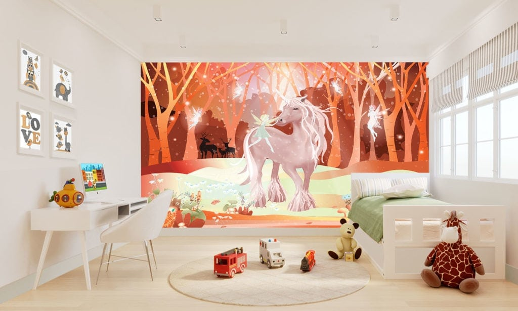 Childrens Magical Red Fairytale Wallpaper Mural