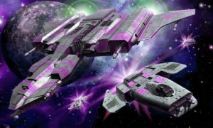 Purple Spacecraft in the Galaxy Wallpaper Mural