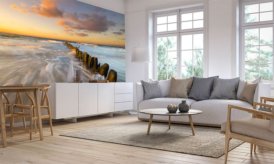 hamptons coastal interior design style with wallpaper mural feature wall