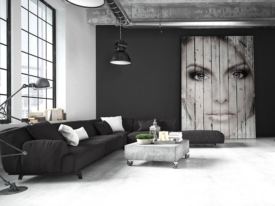 black and white feature wall - another alternative to mural wallpaper