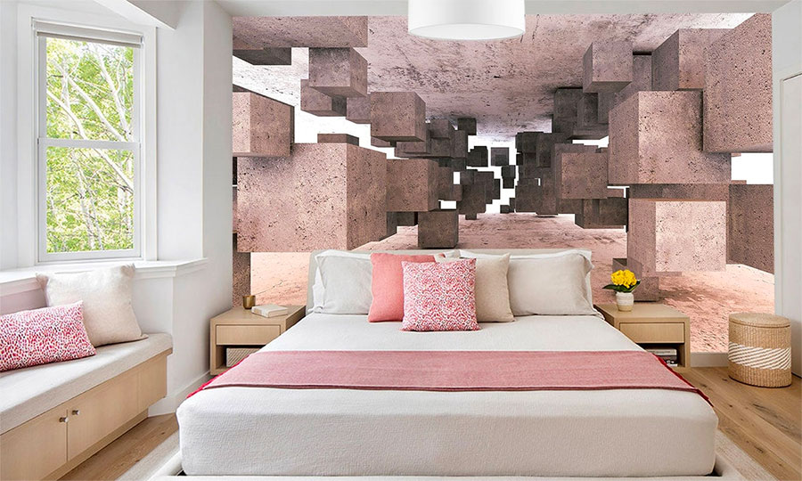 feature wall mural wallpaper mural with futuristic 3D modelling