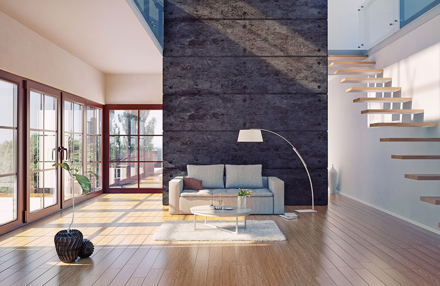 modern industrial styling for a feature wall