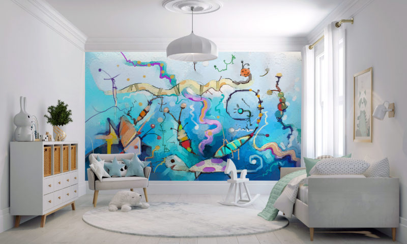 Smiling Turtle With Fish Mural Wall Art