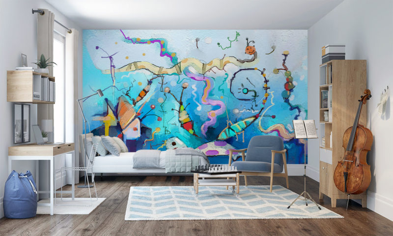 Smiling Turtle With Fish Wall Mural