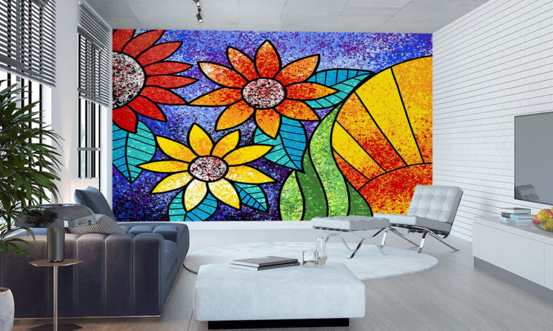 Flowers On A Purple Background Wall Mural