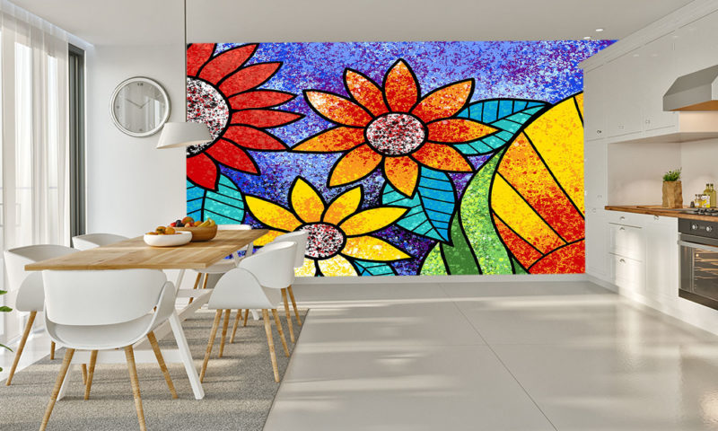 Flowers On A Purple Background Mural Wall Art