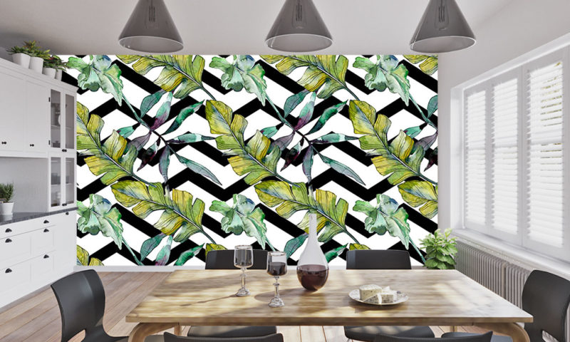 Green Feathery Leaves Mural Art
