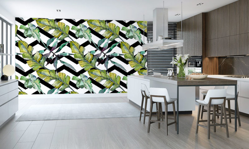 Green Feathery Leaves Wall Mural