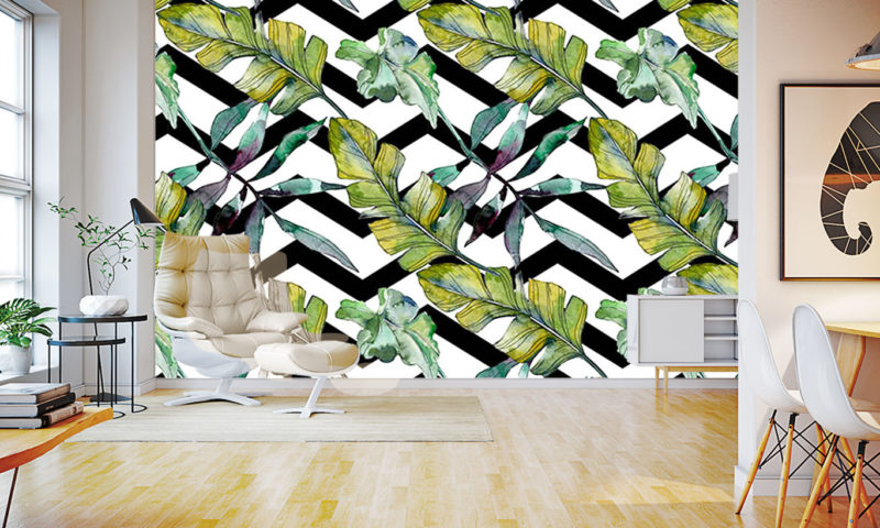 Green Feathery Leaves Wallpaper Mural