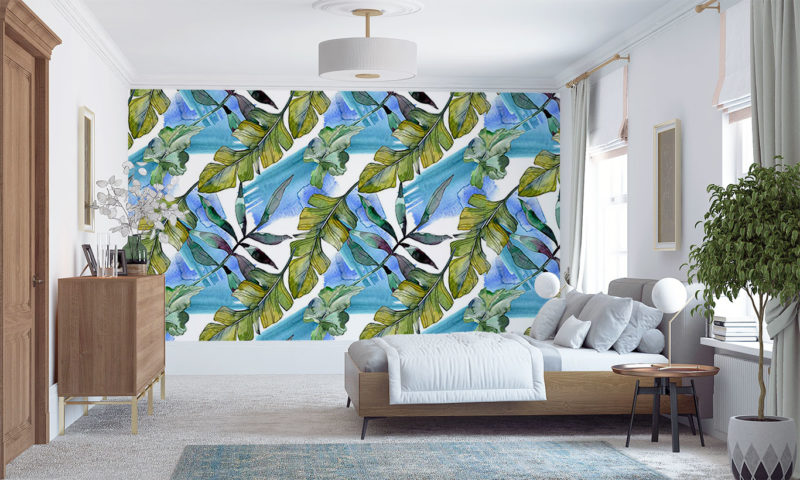 Leaves On A Blue & Green Background Wall Mural