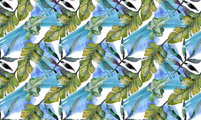 Leaves On A Blue & Green Background Wallpaper Mural