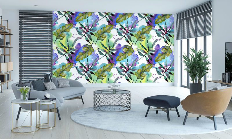 Leaves On A Watercolour Background Mural Wall Art
