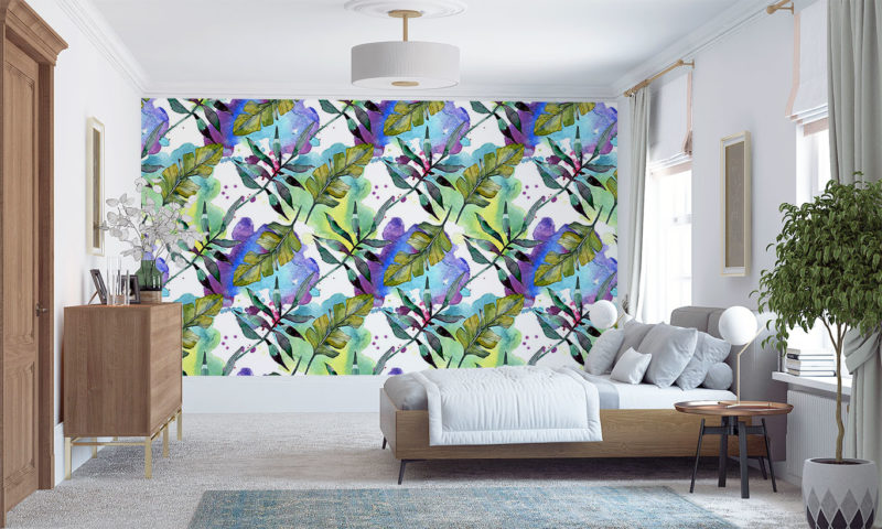Leaves On A Watercolour Background Wallpaper Art