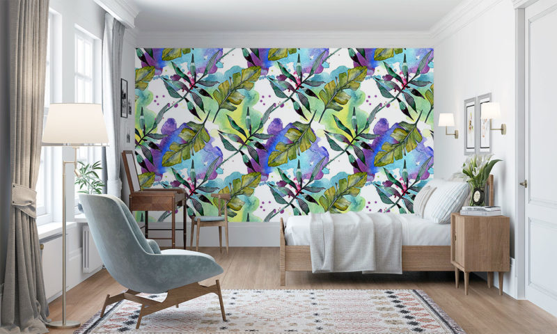 Leaves On A Watercolour Background Wall Mural