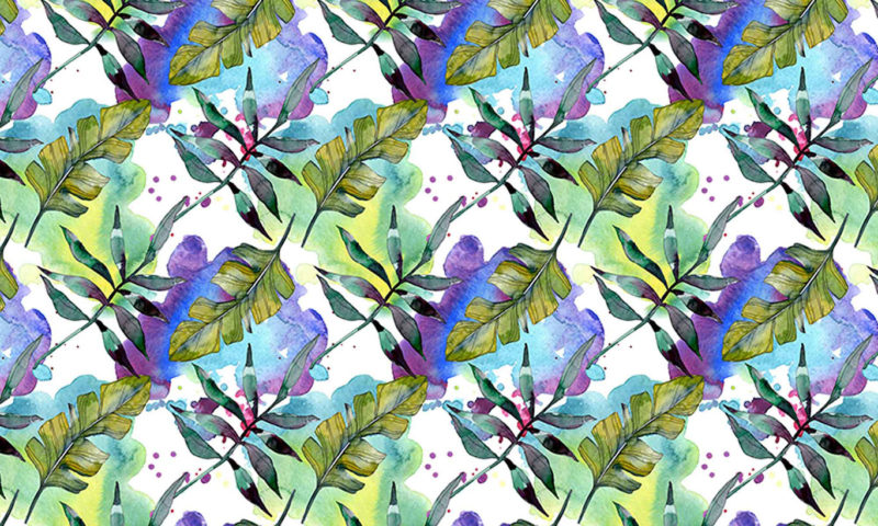 Leaves On A Watercolour Background Wall Art