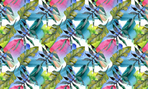 Two Leaves On Pink, Blue and Green Mural Wallpaper