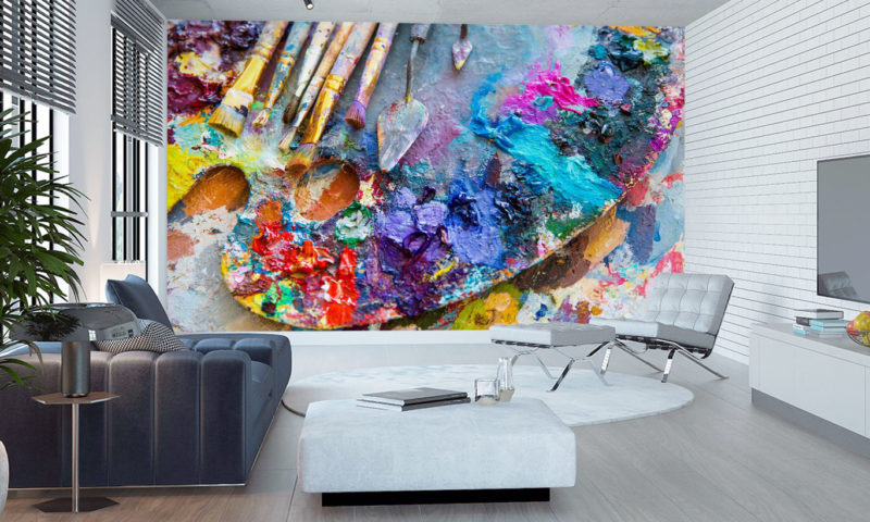 Colourful Artists Palette And Brushes mural art