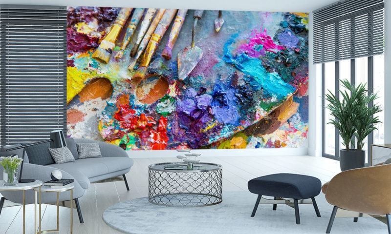 Colourful Artists Palette And Brushes wallpaper