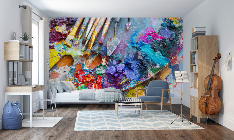 Colourful Artists Palette And Brushes wall mural