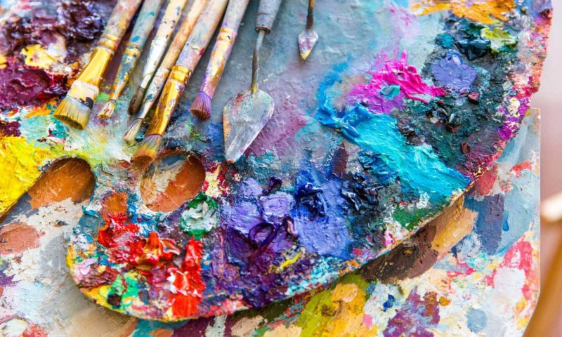 Colourful Artists Palette And Brushes wallpaper mural