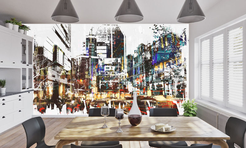 Abstract City Scape wall mural