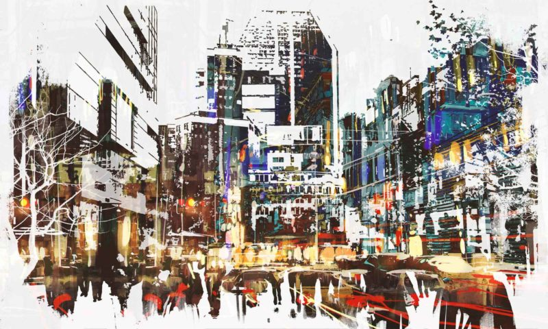 Abstract City Scape mural wallpaper