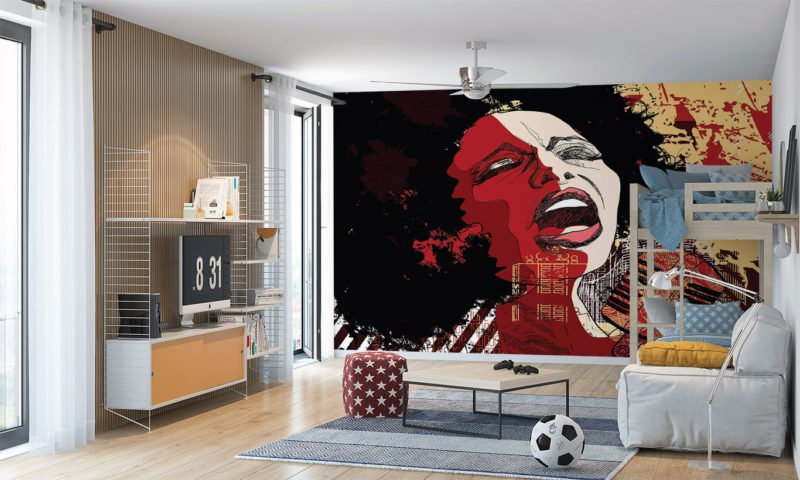 Jazz Singer On Abstract Grunge Background mural