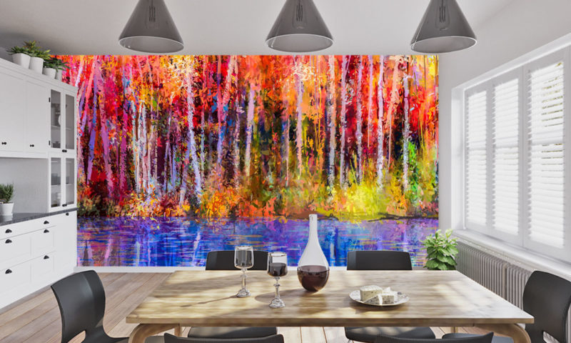 Autumn Forest and Lake Mural