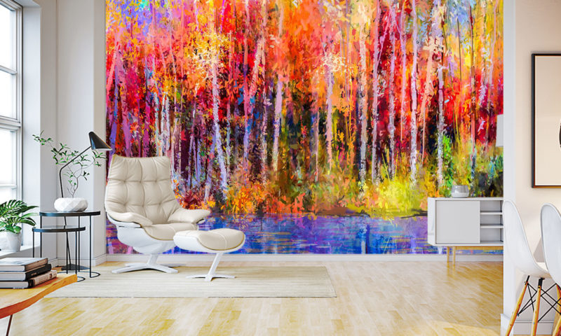 Autumn Forest and Lake Art Wall Mural