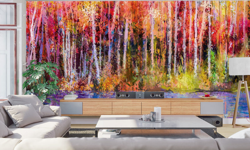 Autumn Forest and Lake Art Mural Wallpaper