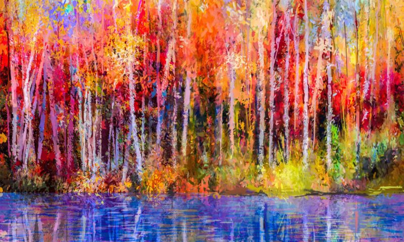 Autumn Forest and Lake Art Mural