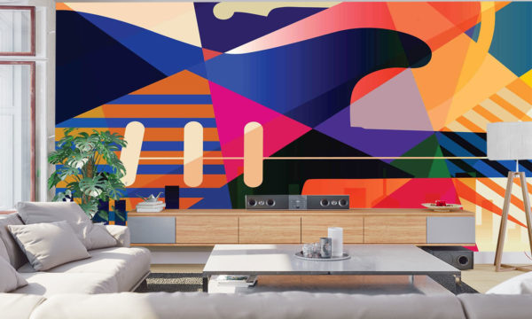 Colourful Musical Abstract Wallpaper Art