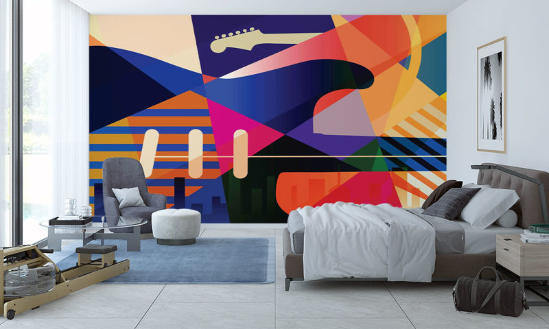 Colourful Musical Abstract Wallpaper Mural
