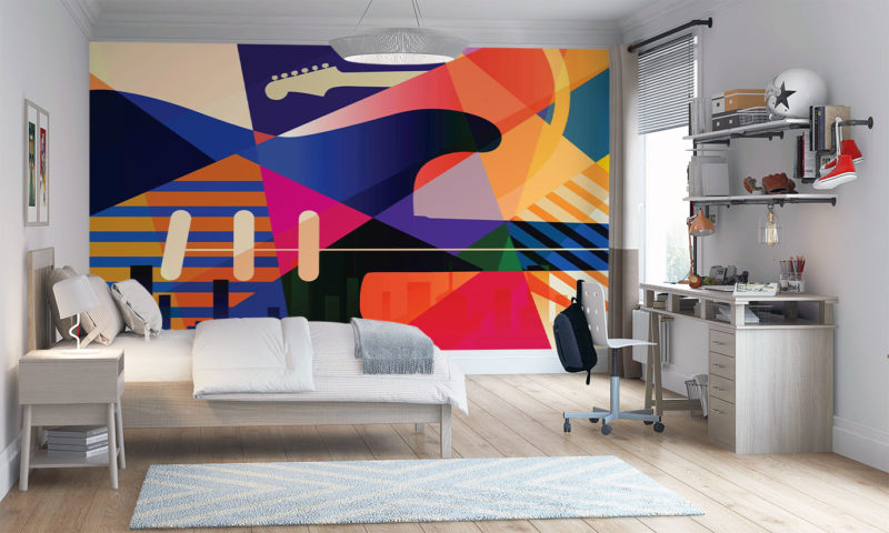 Colourful Musical Abstract Wall Mural