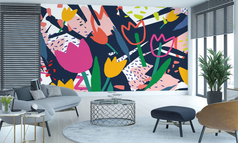 Brightly Coloured Tulip Flowers Wall Mural Wallpaper