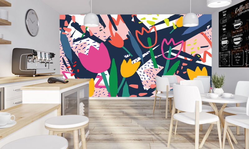 Brightly Coloured Tulip Flowers Wallpaper Mural