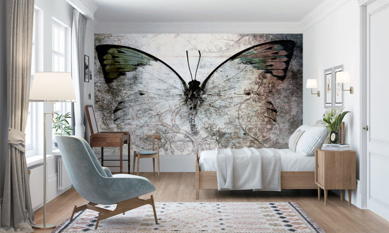 Delicate Butterfly In Shades Of Grey Wallpaper