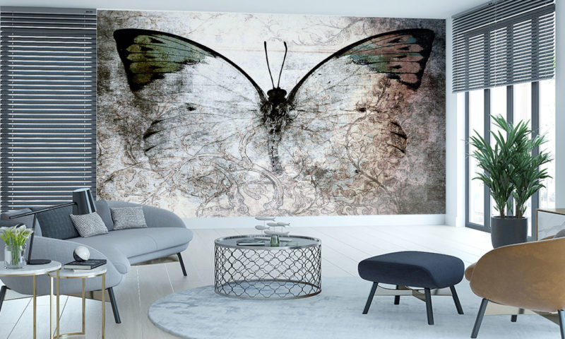 Delicate Butterfly In Shades Of Grey Wallpaper Mural