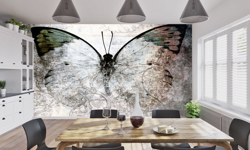 Delicate Butterfly In Shades Of Grey Mural Art